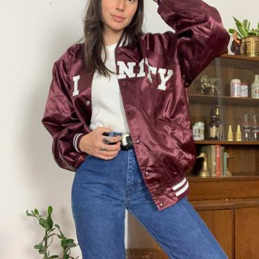 Vintage 80's Trinity High School Made in USA Howe Athletic Apparel Burgandy Bomber Jacket by CottontailTrdPost
