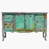 Distressed Aqua Green Blue Credenza Console Side Table Cabinet cs5140S