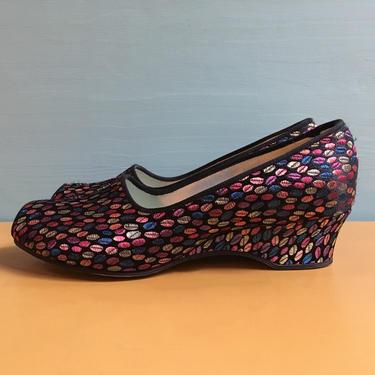 Vintage 1960s 60s 60's women's black & multicolored polka dots Daniel Green peep toe slippers house shoes wedges size 5 B original box by FastDollFineVintage