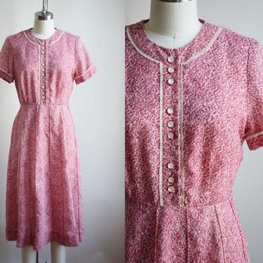 Vintage 1930s/40s Ditsy Rose Day Dress | S/M | 30s/40s Cotton Floral Rose Print Frock by wemcgee