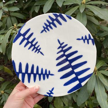 Ceramic Cheeseboard/Cake Plate in Botanical Fern Print - Cobalt Blue on White Handmade Dinnerware by BirdstoneCeramics