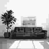 Scandinavian Black Leather + Rosewood Sofa