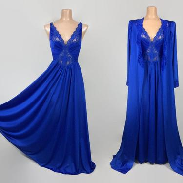 VINTAGE 80s Cobalt Blue OLGA Peignoir Set | Stretch Lace Bodice | Full Sweep Nightgown & Robe | Wedding Bridal Lingerie | M 92150 94270 by IntrigueU4Ever