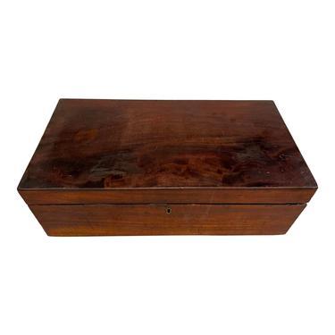 Early 19th Century English Mahogany Traveling Lap Desk Writing Slope Box by LynxHollowAntiques