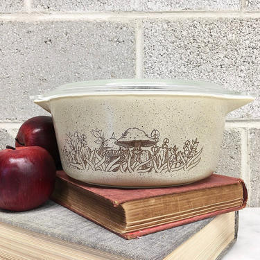Vintage Pyrex Casserole Retro 1980s Forest Fancies + #475-B + 2.5 Liter + Mushrooms + Toadstools + Ceramic + Glass Cookware + Kitchen Decor by RetrospectVintage215