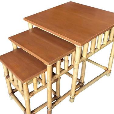 Set of 3 Rattan Nesting Side Tables w/ Mahogany Top by HarveysonBeverly