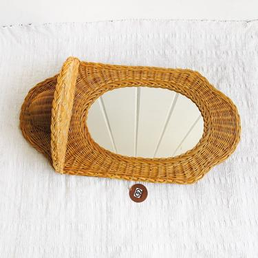 Vintage Curved Bamboo Hanging Mirror with Woven Tray - Made by Quon Quon by PortlandRevibe