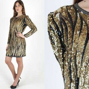 Vintage 80s Gold Flame Sequin Dress / Golden Metallic Beaded Wiggle Dress / Shiny Holiday Party Dress / Sparkly Cocktail Evening Mini by americanarchive