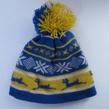 Blue Yellow TOQUE 100% Knit Wool Ski Hat Wool Beanie Pom Pom Winter Canada Toque Ski Skiing Reindeer Snowflakes Blue and Yellow by akaATA