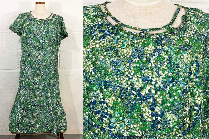 Vintage Floral Blue Dress Abstract A-Line 50s 1950s Mod White Green 1960s 60s Mod Twiggy Short Sleeve Flowers Lane Bryant Plus Size XXL XL by CheckEngineVintage