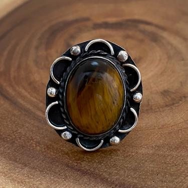 TIGER STRIPES Sterling Silver and Tigers Eye Ring | Appliqué Silver Frame | Mexican Jewelry | Southwestern | Size 6 1/2 by lovestreetsf