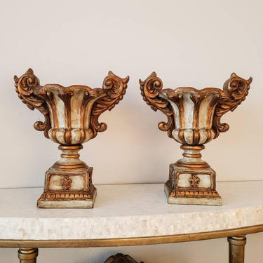 Vintage Italian Baroque Style Campana Urn Vase Pair by MAC Sculpture, Hand Sculpted Carved Painted, Finished in Rustic Tuscan Distressed by LynxHollowAntiques