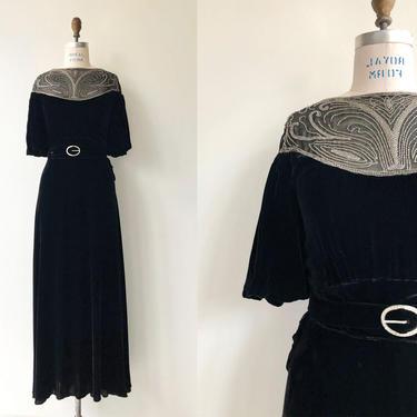 Cadenza silk velvet dress   1930s velvet dress   long 30s dress by DEARGOLDEN
