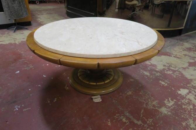 SALE! Vintage MCM round marble top coffee table