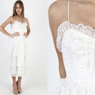 Vintage 80s White Lace Wedding Dress Sweetheart Neckline Cupcake Dress Tiered Bridal Ceremony Floral 1980s Formal Womens Maxi Dress by americanarchive