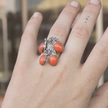Vintage TAXCO Sterling Silver Tassel Ring, Unique Silver Filigree Ring With Hanging Red/Orange Beads, Mexico 925, Adjustable Ring by shopGoodsVintage