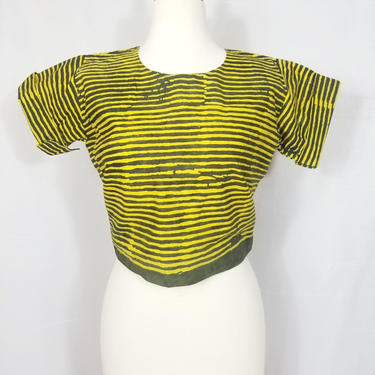 African Batik crop top (Yellow and green stripes) by GLAMMfashions