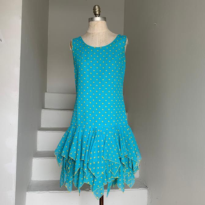 Fun 1970s Turquoise and Yellow Handkerchief Hem Dress Sundress Vintage 34 Bust by AmalgamatedShop