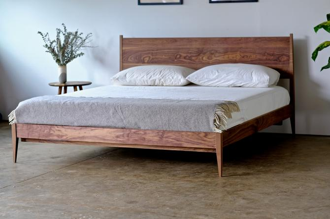 Shaker Style Walnut Bed Frame, Solid Wood Platform Bed, Mid Century Modern Furniture, Made in Oregon, King Queen Full or Twin by BeautyBreadWoodshop