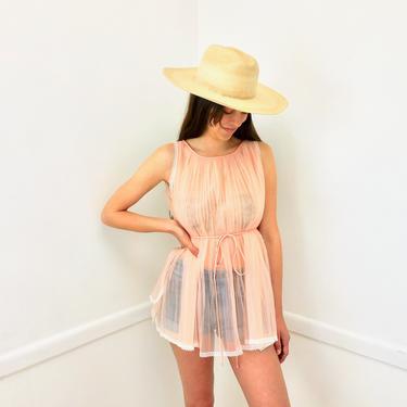 Peach Tunic // vintage boho hippie hippy dress mini high empire waist nightgown night gown nighty 50s 60s // O/S by FenixVintage