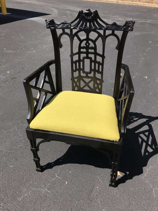 Vintage Chinese chippendale pagoda chair by HolbrookBazaar