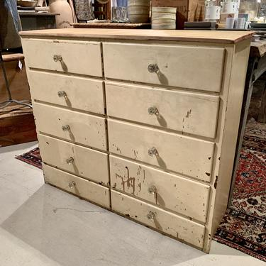 Vintage 10-Drawer Cabinet with Glass Knobs