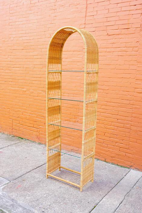 Vintage Rattan Etagere Shelving Unit, Wicker Bookshelf With Glass Shelving, Arched Rattan Shelving Unit, Boho/Minimalist Storage Furniture by shopGoodsVintage