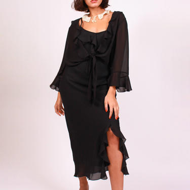 Black Chiffon Dress & Matching Jacket by DevilSlang