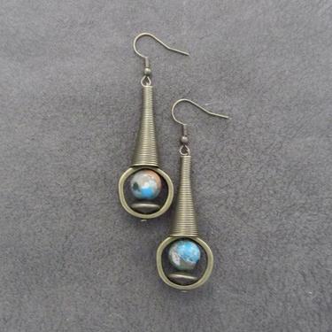 Imperial jasper earrings, modern earrings, rustic bronze earrings, mid century modern earrings, unique statement earrings, blue ethnic by Afrocasian