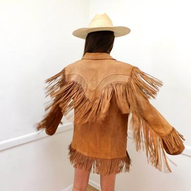 Pioneer Wear Jacket // vintage 70s beige brown suede boho country western hippie dress fringe USA southwestern // O/S by FenixVintage
