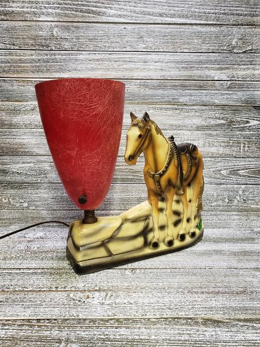 Vintage Horse Lamp Mid Century Fibergl Cone 1950s Cowboy Decor Equestrian Tv Wild West Chalkware Lighting By