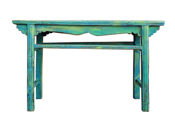Chinese Rustic Rough Wood Distressed Blue Green Side Table cs2511E by GoldenLotusAntiques