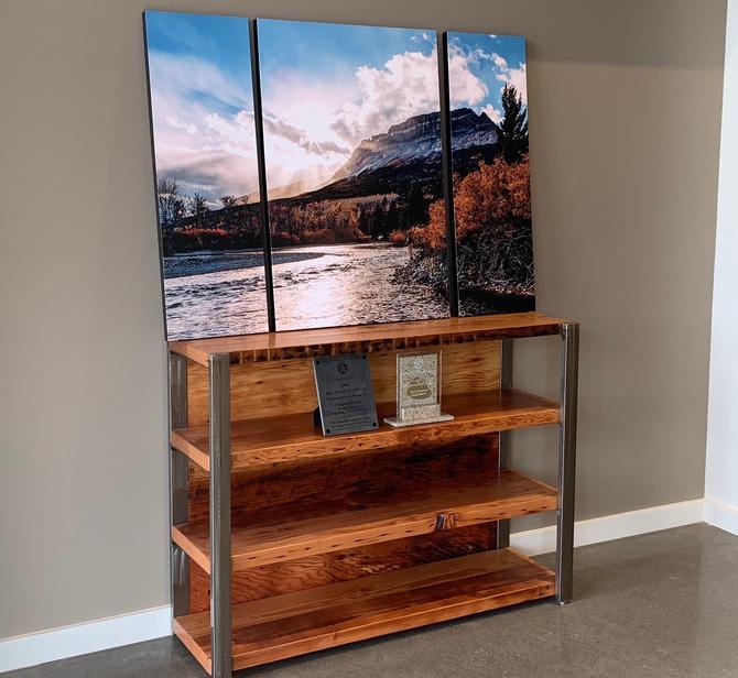 Industrial Bookshelf. Reclaimed Wood Bookshelf. Wood and Steel Book Shelf. Industrial Bookcase. Office Furniture. 4 Shelf Bookcase. by UrbanIndustrialNW