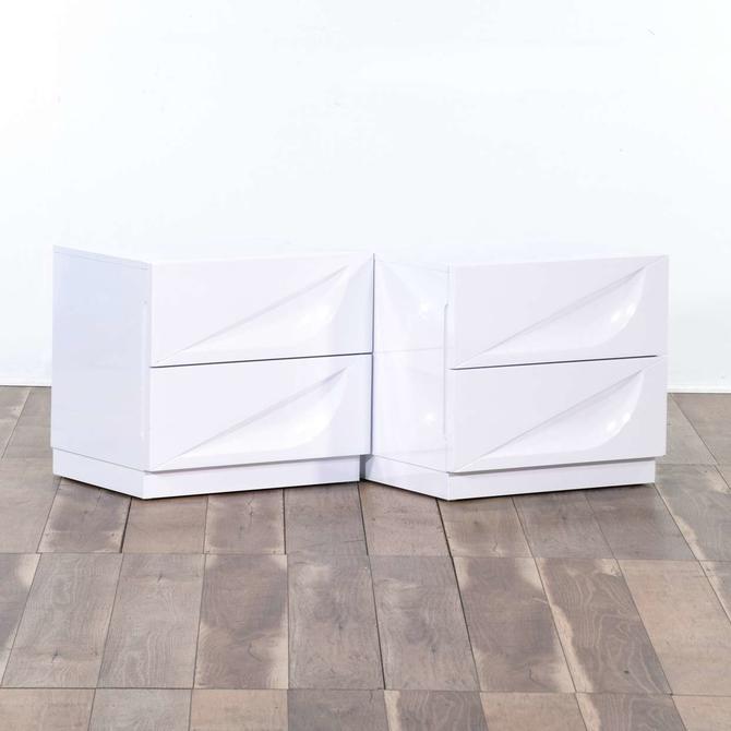 Pair Of Modern White 2 Drawer Nightstands