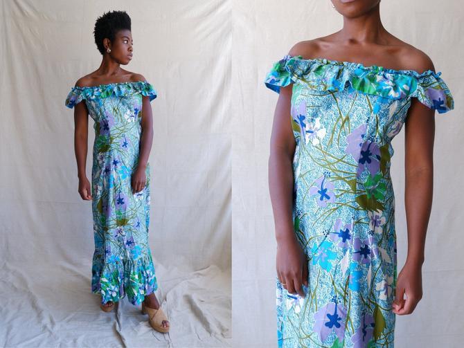 Vintage 70s Off The Shoulder Cotton Maxi Dress/ 1970s Hawaiian Ruffle Tiki Gown/ Size Medium by bottleofbread