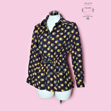 70's Denim Jacket, Floral print Black & Yellow Vintage Jacket Shirt Blouse 1970's Hippie Boho Festival Jean Top Coat by Boutique369