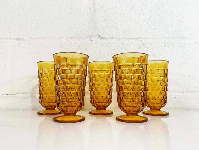 Vintage Iced Tea Glasses Set of 5 Indiana Glass Whitehall Pattern Amber Yellow Orange Highball Glasses 1960s 60s Wine Goblet Water by CheckEngineVintage