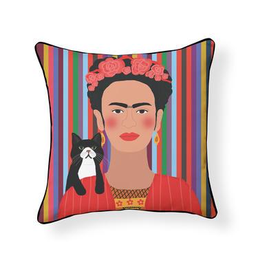 Modern Frida Kahlo and Tuxedo Cat Pillow