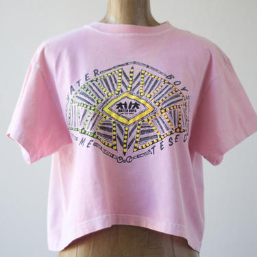 80s Vintage WATER BOYS Time Tested Surf Shirt Pink Crop Top Beach Wear Half Shirt Neon Tribal Graphics Muscle Shirt Old Trashed Faded Holes by MOBIUSMOD