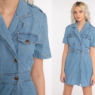 90s Denim Dress SKORT 80s Mini Jean Grunge Romper Dress Vintage 1990s Button Up High Waisted Short Sleeve Blue Nerd Small S by ShopExile