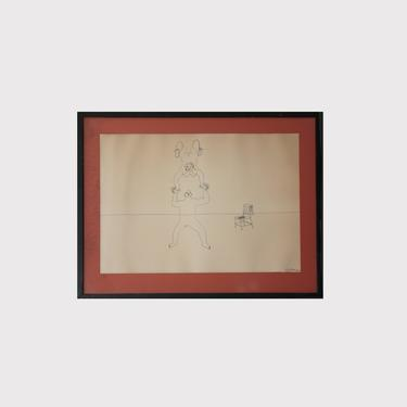 Alexander Calder Signed Limited Edition Circus Drawings Lithograph in black matted frame_005 by GoldmineUnlimited