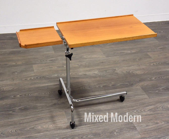 Teak and Chrome Tray Stand by mixedmodern1