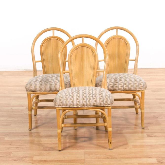 Set Of 3 Rattan Upholstered Dining Chairs