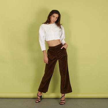 70s Dark Brown Velvet High Rise Pants Vintage Flared Soft Trousers by AppleBranchesVintage