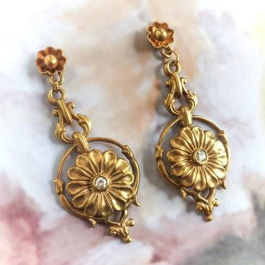 Vintage Diamond Daisy Drop Pierced Earrings in 14K Yellow Gold by YourJewelryFinder