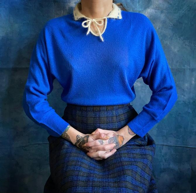 Blue 1950s Keyhole Sweater by milkandice