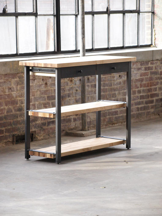 Modern Maple Console table metal steel base by CamposIronWorks