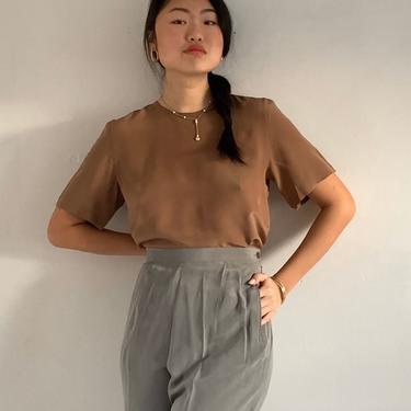 90s silk tee blouse / vintage cocoa latte silk crepe short sleeve crew neck blouse box tee   M by RecapVintageStudio