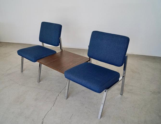 Incredible 1970's Mid-century Modern Steelcase Tandem Bench Sofa in Blue Tweed! by CyclicFurniture