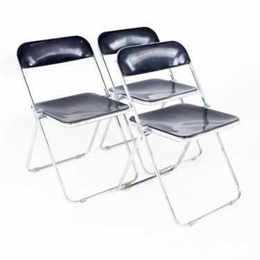 Giancarlo Piretti Anonima Castelli Style Mid Century Smoked Lucite Folding Chairs - Set of 3 - mcm by ModernHill